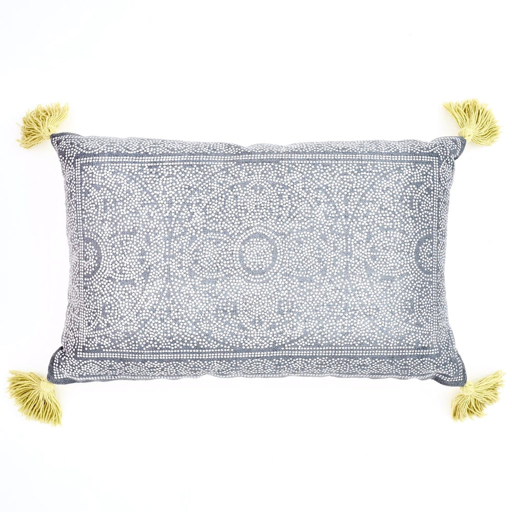WEAVER GREEN KAS NAVY & GOOSEBERRY CUSHION