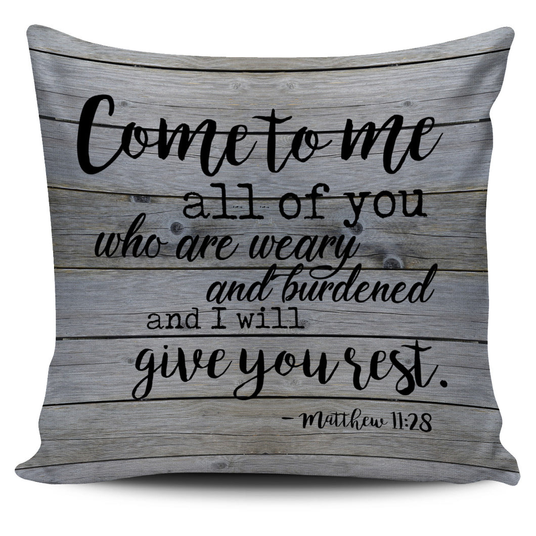 Beautiful Scripture Pillow Cover - Matthew 11:28