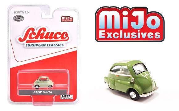 * PRE ORDER * Schuco 1:64 MiJo Exclusives - European Classics - BMW Isetta (Green with cream roof) - Limited to 1200 pieces