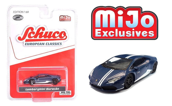 Schuco 1:64 MiJo Exclusives - European Classics - Lamborghini Huracan (Matte blue with white stripes) - Limited to 2400 pieces