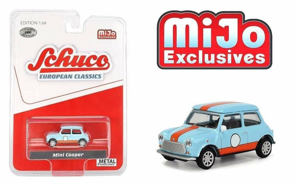 Schuco 1:64 MiJo Exclusives - European Classics - Mini Cooper (Light blue with orange stripes) - Limited to 2400 pieces