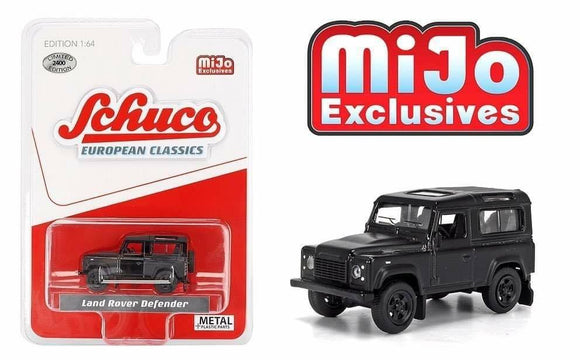 * PRE ORDER * Schuco 1:64 MiJo Exclusives - European Classics - Land Rover Defender (Matte Black) - Limited to 2400 pieces