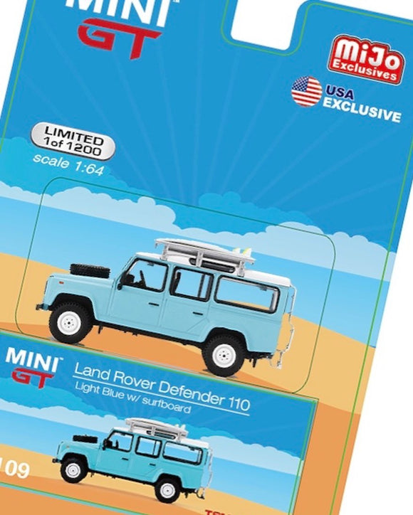 * PRE ORDER * Mini GT #109 1:64 Mijo Exclusive Land Rover Defender 110 With Rack & Surfboard Limited 1,200