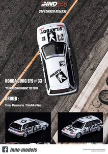 "* PRE ORDER *  INNO 64 HONDA CIVIC EF9 #33 ""TEAM RACING FORUM"" JTC 1991"
