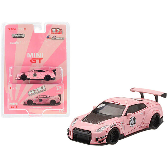 Mini GT #76 1:64 MiJo Exclusives - LB Works Nissan GT-R R35 Type 2 Rear Wing Version 3 Pink Pig LHD (USA Exclusive)(Limited 1 of 3600)