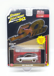 Johnny Lightning 50th Anniversary 1:64 Mijo Exclusive 1991 Honda CRX Limited 💥 White Lightning 💥