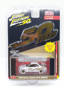 Johnny Lightning 50th Anniversary 1:64 Mijo Exclusive 1999 Nissan Skyline GT-R (BNR34) Limited 💥 White Lightning 💥