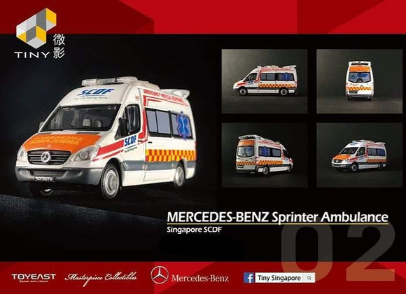 TINY MODEL 1:76 MERCEDES-BENZ SPRINTER AMBULANCE SINGAPORE SCDF