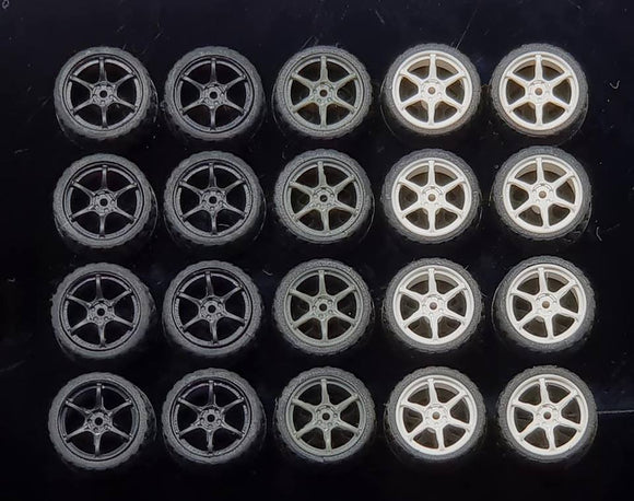 GARAGE 64 RUBBER WHEELS ** 6 Spoke ** 1:64 SCALE