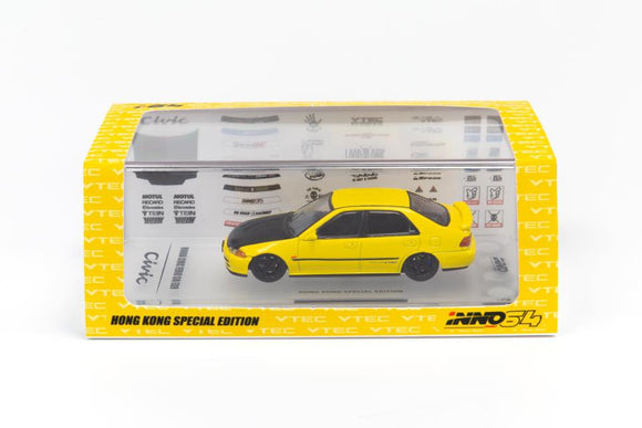 INNO 64 HONDA CIVIC EG9 YELLOW with Decals ( HONG KONG EXCLUSIVE )