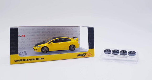 INNO 64 HONDA CIVIC TYPE R FD2 YELLOW W/ CARBON HOOD ** SINGAPORE EXCLUSIVE **