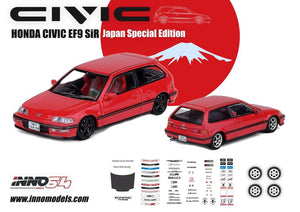NNO64 JAPAN SPECIAL EDITION HONDA CIVIC EF9 SiR Red W/ separate decals and extra Rims.