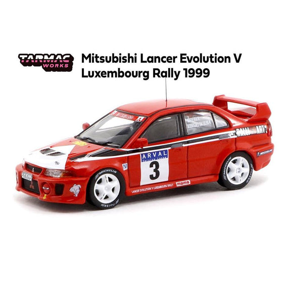 TARMAC WORKS 1:64 MITSUBISHI LANCER EVOLUTION V LUXEMBOURG RALLY 1999 - MINICAR FESTIVAL HK EXCLUSIVE