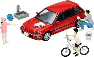 DioColle 64 1/64#Car Snap 02a Car Wash (TLV-NEO Honda Civic 25XT Exclusive Color Included) Accessory & Complete Mini Car Set