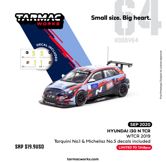 TARMAC WORKS 1:64 Hyundai i30 N TCR WTCR 2019 With decal, No. 1 Tarquini & No.5 Michelisz *** Limited to 1248pcs ***