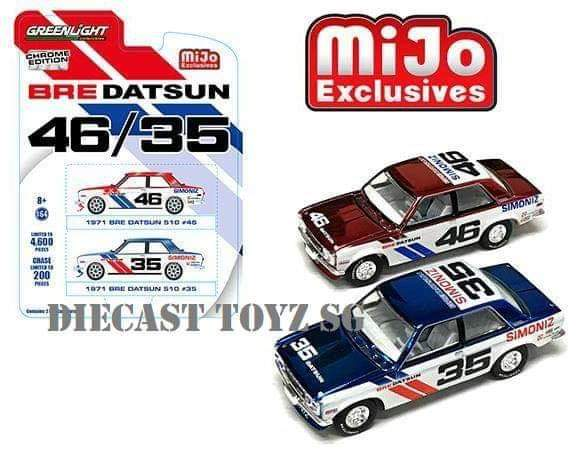 GREENLIGHT DATSUN BRE BLUEBIRD 510 CHROME ( BLUE & RED ) 2 CAR PACK MiJo Exclusives Limited