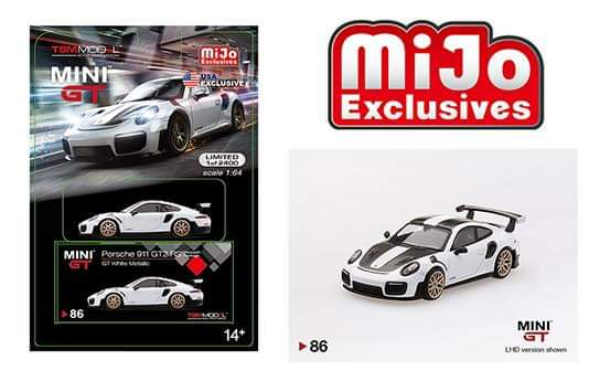 Mini GT #86 1:64 MiJo Exclusives - Porsche 911 GT2 RS (GT White Metallic) - USA Exclusive - Limited Edition 1 of 2,400
