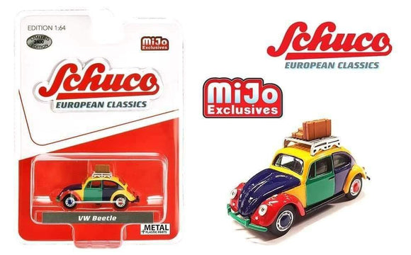 * PRE ORDER * Schuco 1:64 Mijo Exclusives Volkswagen Beetle Kafer Harlekin With Roof Rack & Luggage Limited Edition 2,400 Pcs