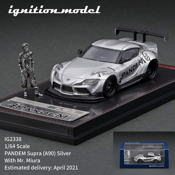 IGNITION MODEL IG2338 1/64 scale PANDEM Supra (A90) Silver with Mr. Miura metal figurine