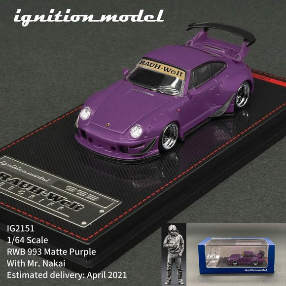 * PRE ORDER * IGNITION MODEL IG2151   1/64 scale RWB 993 Matte Purple with Mr. Nakai metal figurine