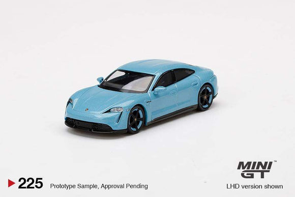 * PRE ORDER * MINI GT #225 1:64 Porsche Taycan Turbo S Frozen Blue Metallic