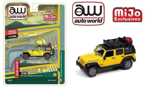 *PRE ORDER * Auto World 1:64 Mijo Exclusive Custom 2018 Jeep Wrangler Rubicon Unlimited Yellow Roof Rack 3600