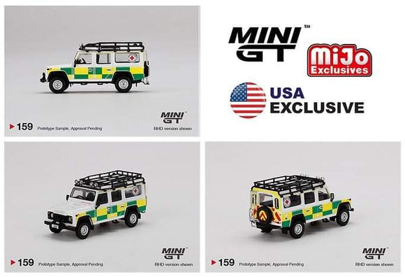*  PRE ORDER * Mini GT #159 1:64 Mijo Exclusive World Wide Land Rover Defender 110 British Red Cross Search & Rescue RHD Limited Edition   -  MIJO BLISTER VERSION