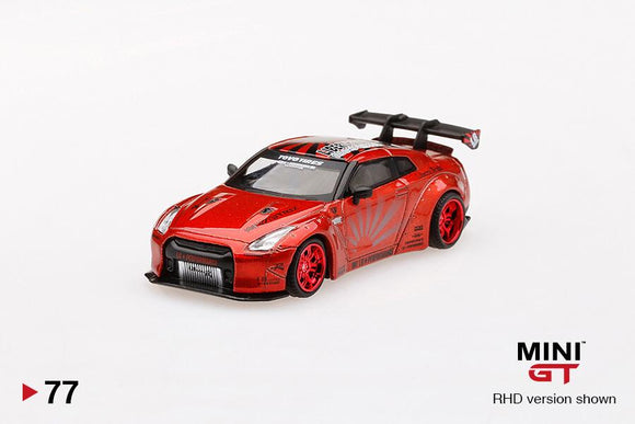 MINI GT 1:64 LB WORKS Nissan GTR R35 Type 1 Rear Wing Ver 1+2 Candy Red (RHD)