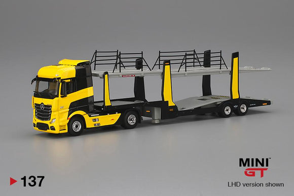 ⚫️  PRE ORDER ⚫️ MINI GT #137 1/64 Mercedes Benz Actros With Yellow Car Carrier Trailer