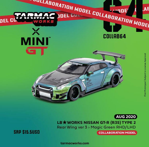 * PRE ORDER * Mini GT X TARMAC WORKS LB WORKS NISSAN GT-R (R35) TYPE 2 MAGIC GREEN (RHD ONLY)