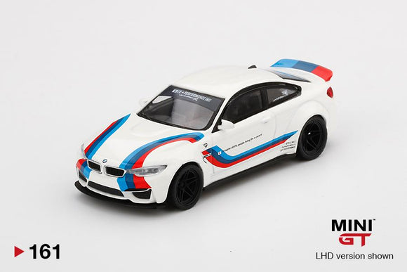 MINI GT 1:64 #161 LB WORKS BMW M4 White w/ M Stripe