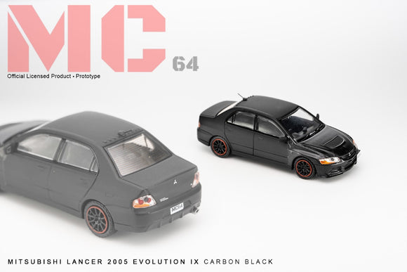 MC64 2005 Mitsubishi Lancer Evolution IX - CARBON BLACK 1/64