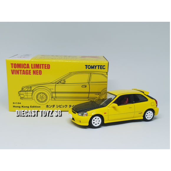 Tomy Tomica Limited Vintage Tomytec Honda Civic EK9 Yellow Hong Kong Exclusive