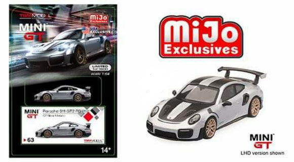Mini GT #63 Mijo Exclusive 1:64 Porsche 911 (991) Turbo GT2RS GT LHD LTD 3,600 (Silver)