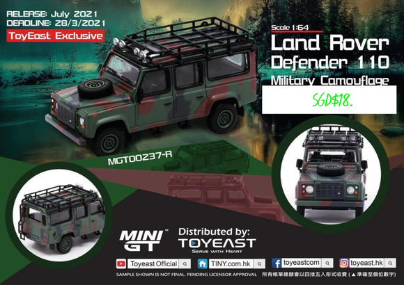 * PRE ORDER * MINI GT #237 1:64 LAND ROVER DEFENDER 110 MILITARY CAMOUFLAGE