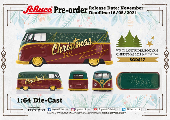 * PRE ORDER * SCHUCO 1/64 VW T1 LOW RIDER BOX VAN CHRISTMAS 2021