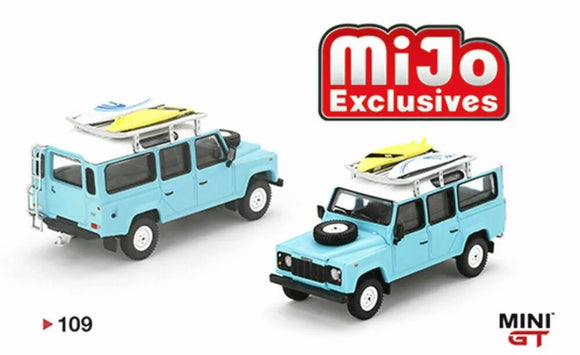 Mini GT #109 1:64 Mijo Exclusive Land Rover Defender 110 With Rack & Surfboard Limited 1,200