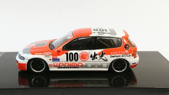 Tarmac Works 1/64 HONDA CIVIC EG6 Group A Racing Idemitsu Motion JTCC Livery #100