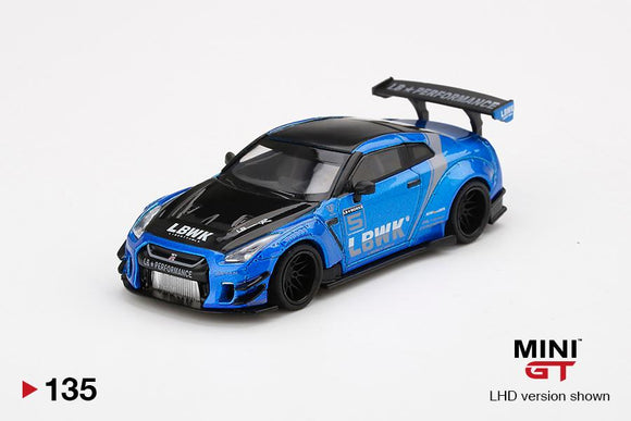 ⚫️  PRE ORDER ⚫️ MINI GT 1:64 #135 LB WORKS Nissan GT-R R35 Type 2 Reat Wing Ver 2 Blue LB WORKS Livery 2.0