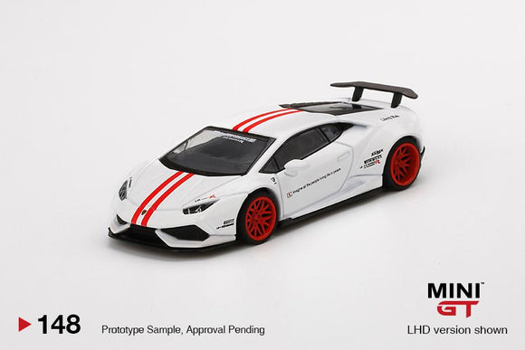 ⚫️ PRE ORDER ⚫️ MINI GT #148 LB WORKS Lamborghini Huracan Version 1 White w/ Red Stripe