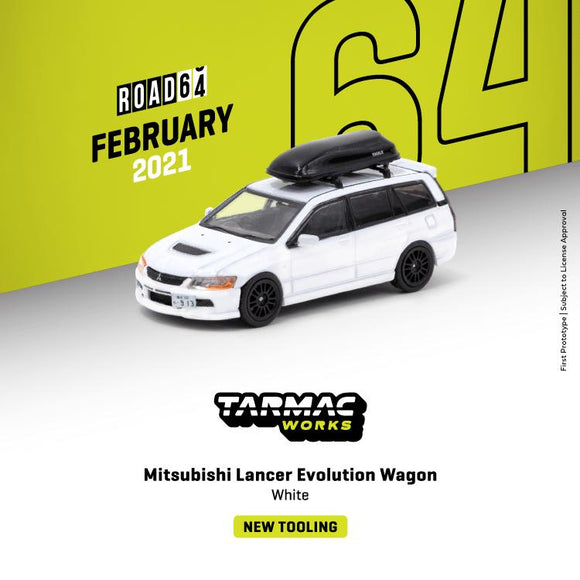 * PRE ORDER * TARMAC WORKS 1/64 Mitsubishi Lancer Evolution WAGON - WHITE * ROOF ACCESSORY INCLUDED *