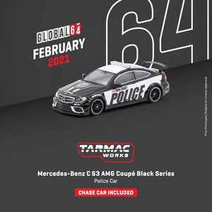 * PRE ORDER * TARMAC WORKS 1/64 MERCEDES - BENZ C 63 AMG COUPÉ BLACK SERIES - POLICE CAR