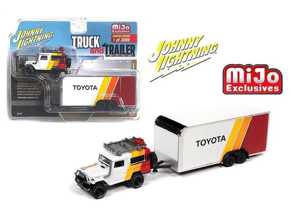 JOHNNY LIGHTNING TOYOTA LAND CRUSIER AND TRAILER / MIJO EXCLUSIVE LIMITED EDITION OF 3000