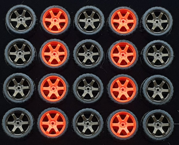 GARAGE 64 RUBBER WHEELS ** TE37 ** 1:64 SCALE