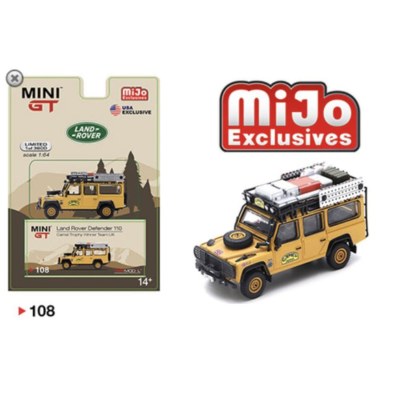 Mini GT #108 1:64 Mijo Exclusive Land Rover Defender 110 Camel Trophy Winner Team UK