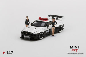 "MINI GT #147 NISSAN GT-R LIBERTY WALK RHD POLICE CAR "" 2 FIGURINE INCLUDED "" LIMITED 3000 PCS"