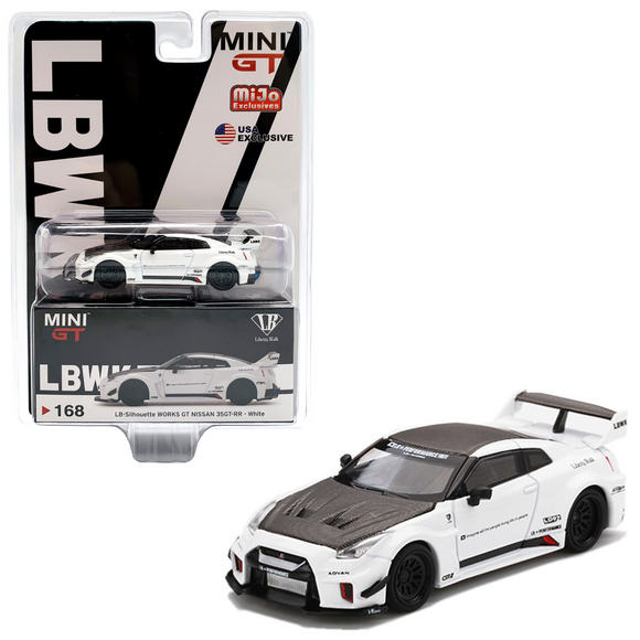 MINI GT #168 MIJO EXCLUSIVE LB-Silhouette WORKS GT NISSAN 35GT-RR Ver.1 White
