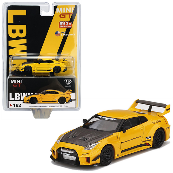MINI GT 1/64 #182 LB-Silhouette WORKS GT NISSAN 35GT-RR Ver.1 Yellow -  MIJO BLISTER VERSION