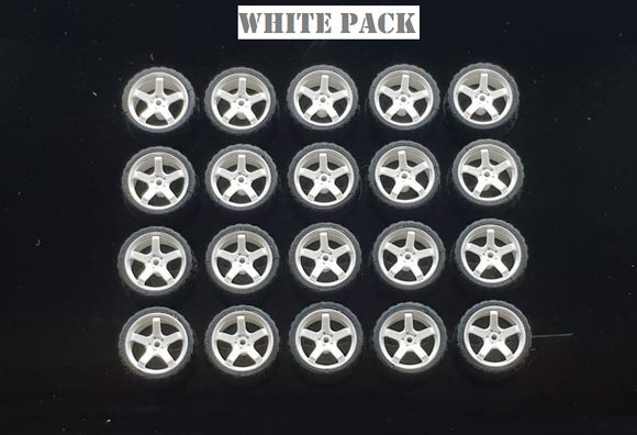 GARAGE 64 RUBBER WHEELS ** 5 SPOKE ** 1:64 SCALE