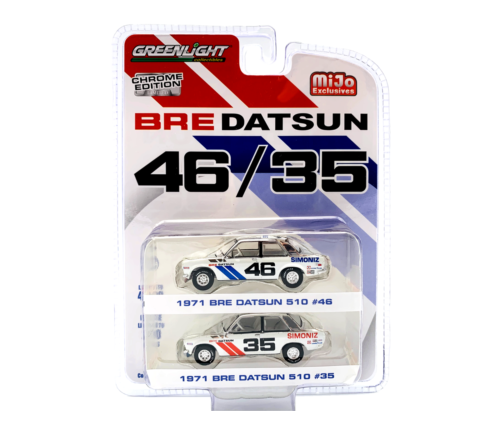 GREENLIGHT DATSUN BRE BLUEBIRD 510 CHROME GREEN MACHINE CHASE 2 CAR PACK MiJo Exclusives Limited * RARE *